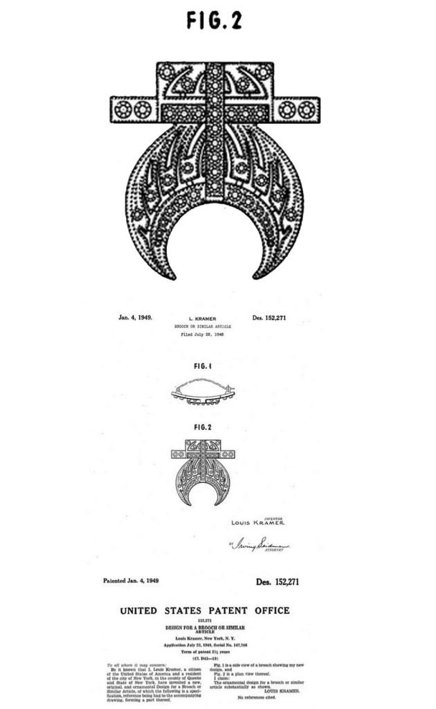 Jewelry design patent 1940s