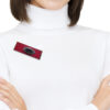 red retangular brooch