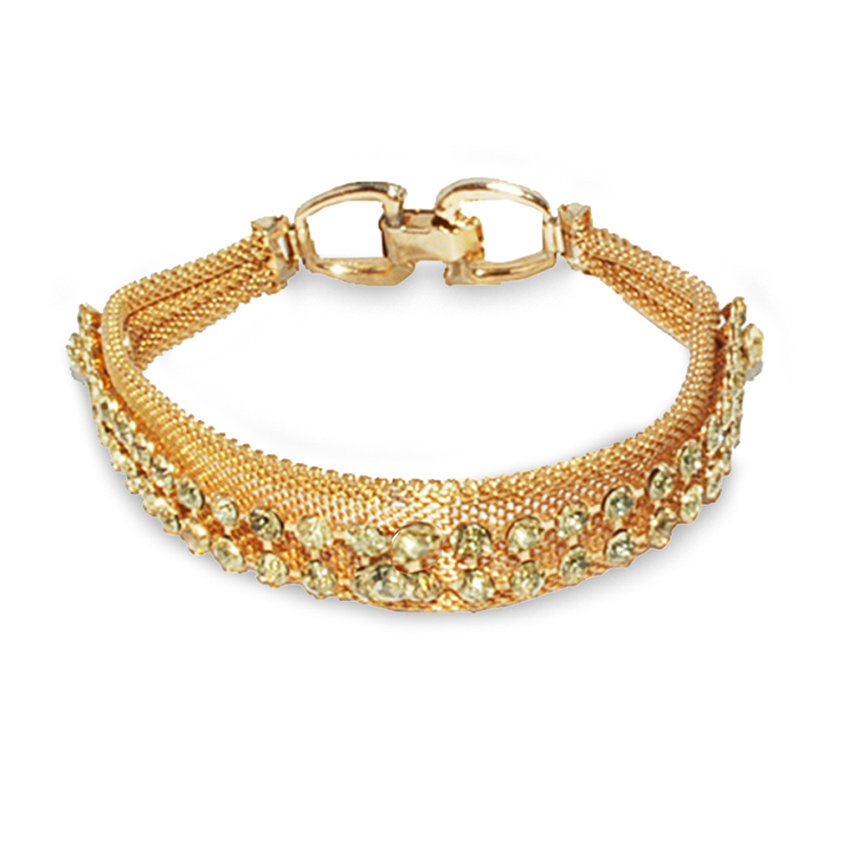 1960s dog collar bracelet, yellow rhinestones