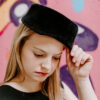 50s womens black hat