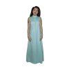 1970s Light Blue Dress, Aqua Column Gown, Silk Chiffon & Lace