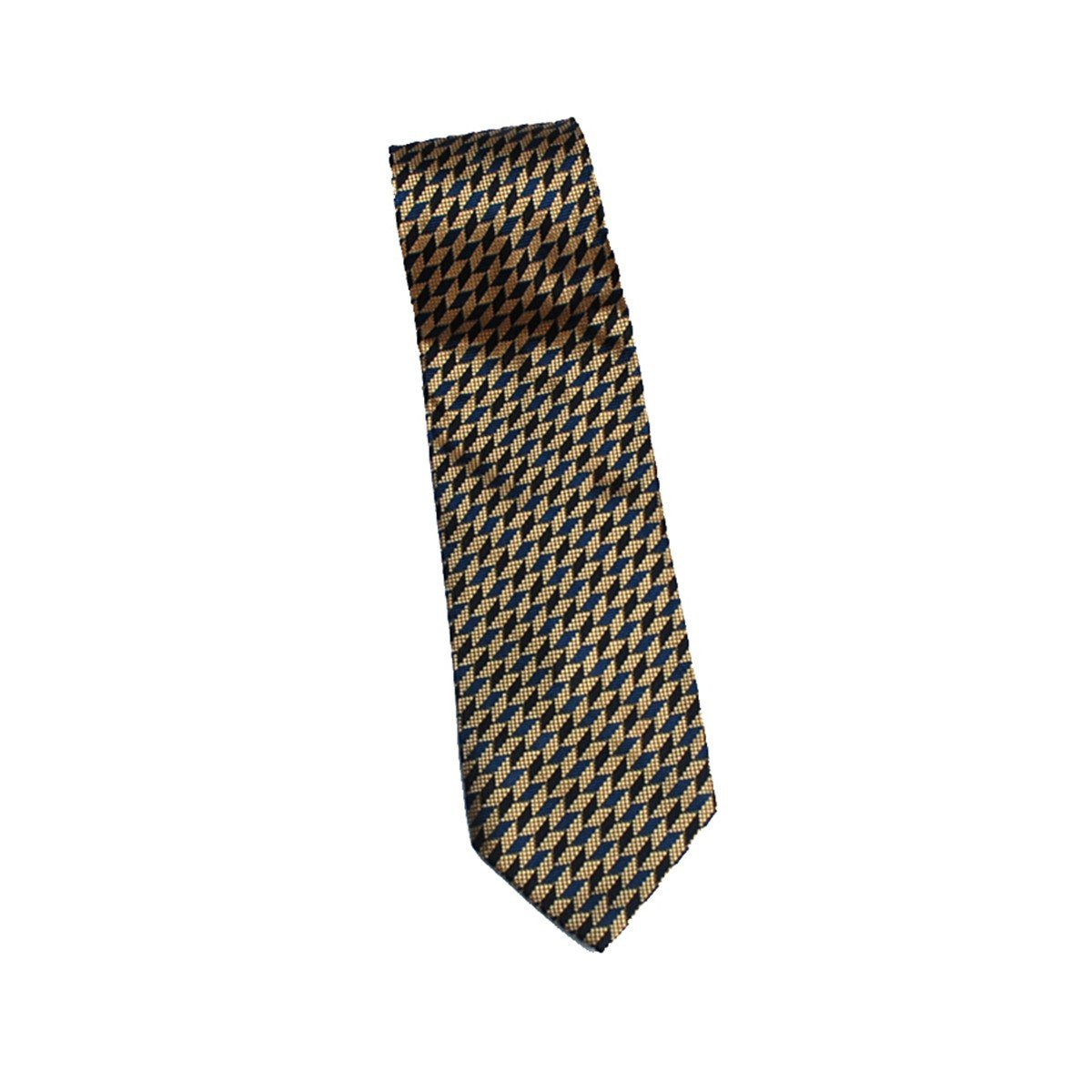 1980s Men's Navy & Gold Silk Tie by Bolgheri, Geometric Design