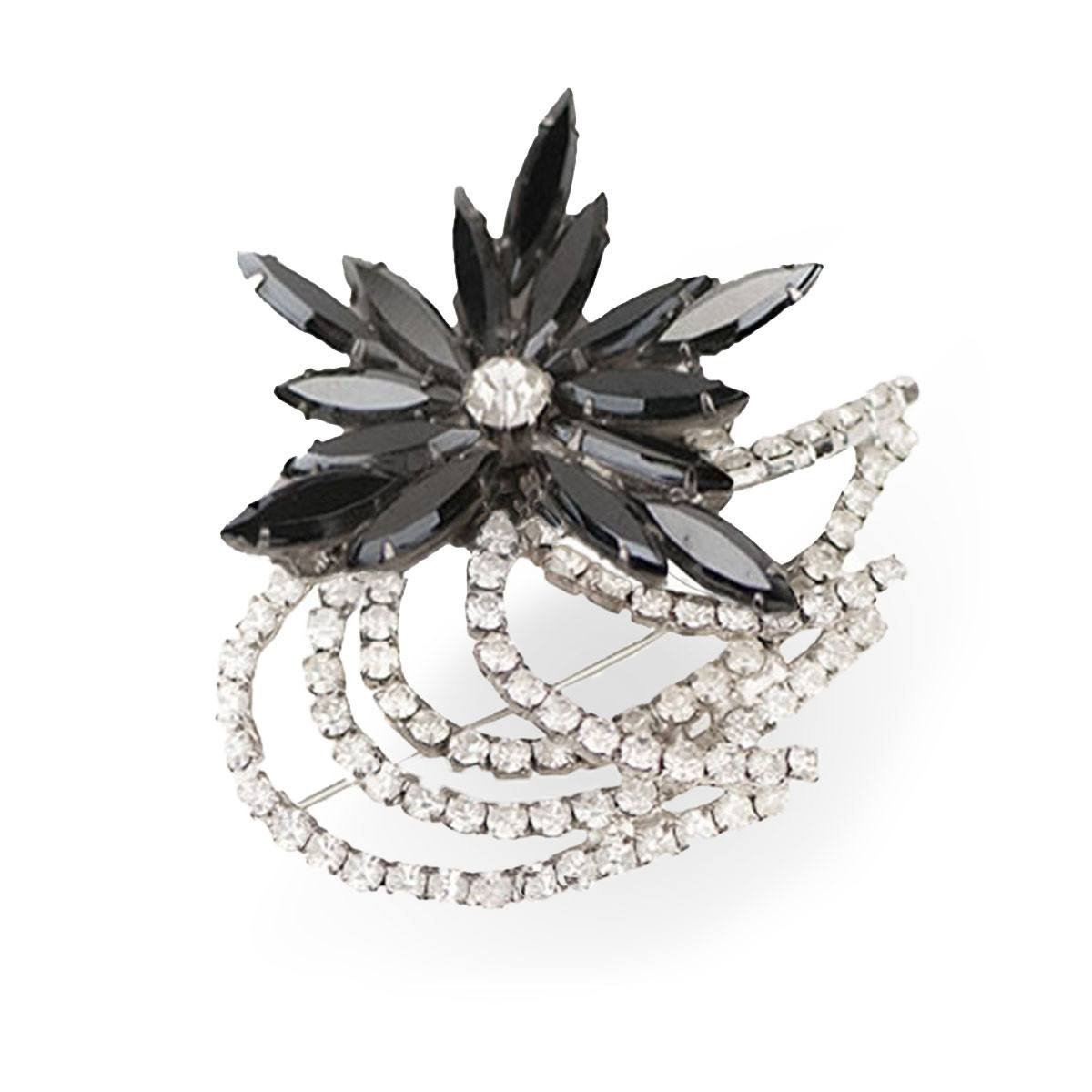 1970s Charcoal Gray Rhinestone Floral Brooch