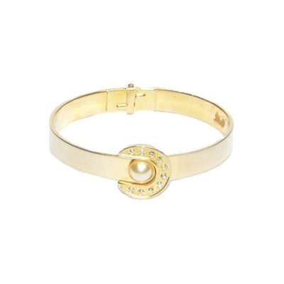 Vintage Gold Metal Buckle Bracelet with Rhinestone & Large Pearl