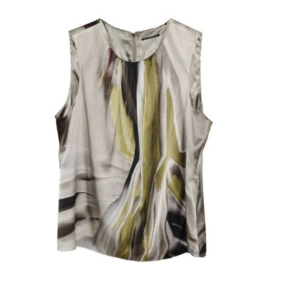 Elie Tahari Silk Shell, Abstract Tie Dye in Gray, Green & Purple, Size XL