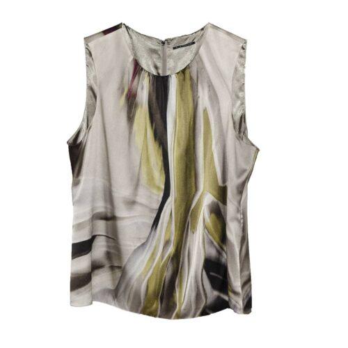 Elie Tahari Silk Shell, Abstract Tie Dye in Gray, Green & Purple, Size XL