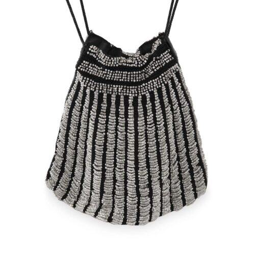 1920s Beaded Drawstring Purse, Swag Gray Glass Beading, Flapper Style