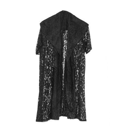 1950s Black Sheer Lace Evening Coat, Shawl Collar