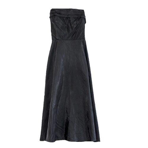 1950s Strapless Cocktail Dress, Black Taffeta
