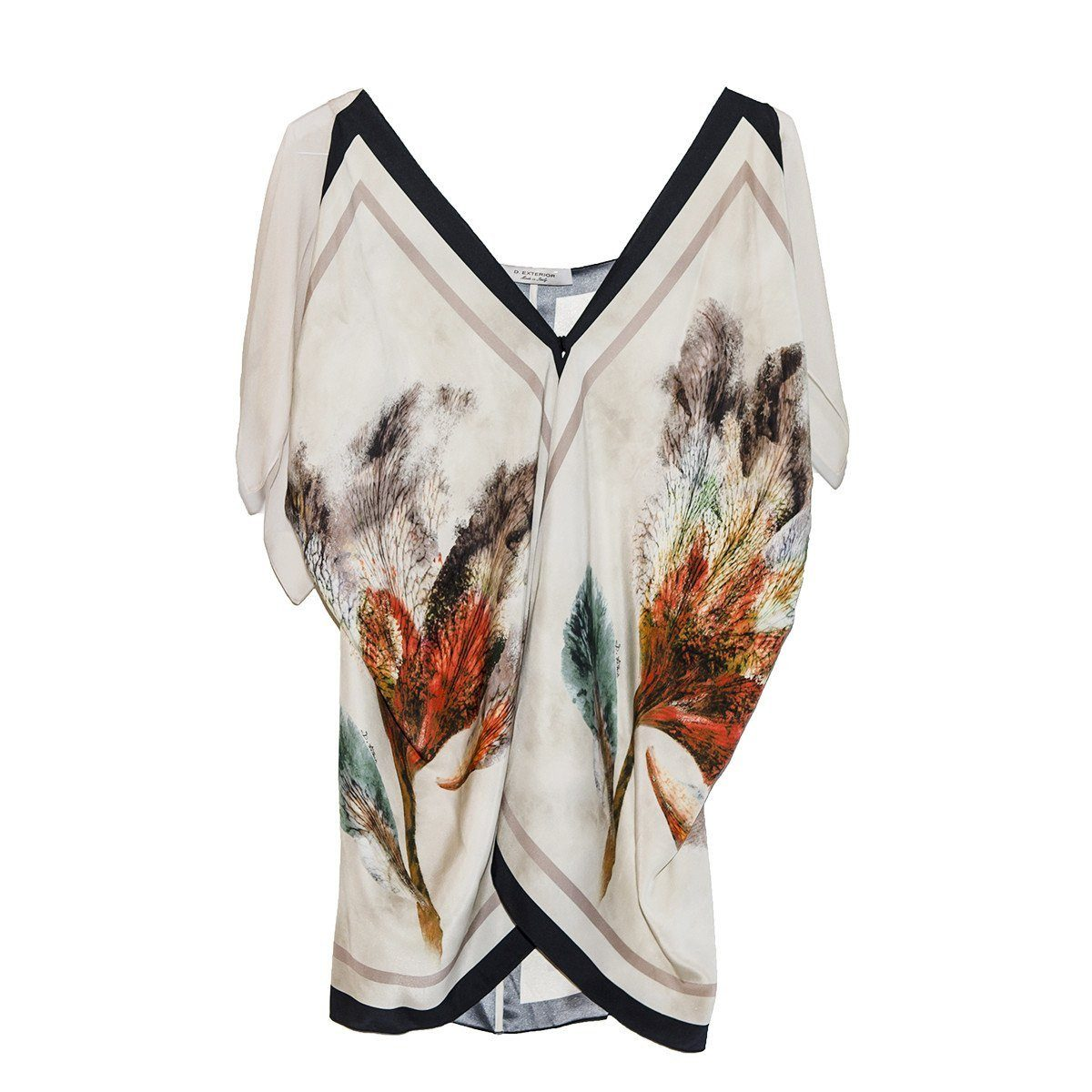 Abstract Floral Print Silk Tunic by D. Exterior