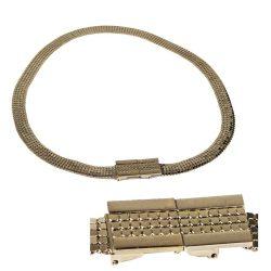 Whiting & Davis Gold Mesh Belt, Modernist Buckle, Adjustable