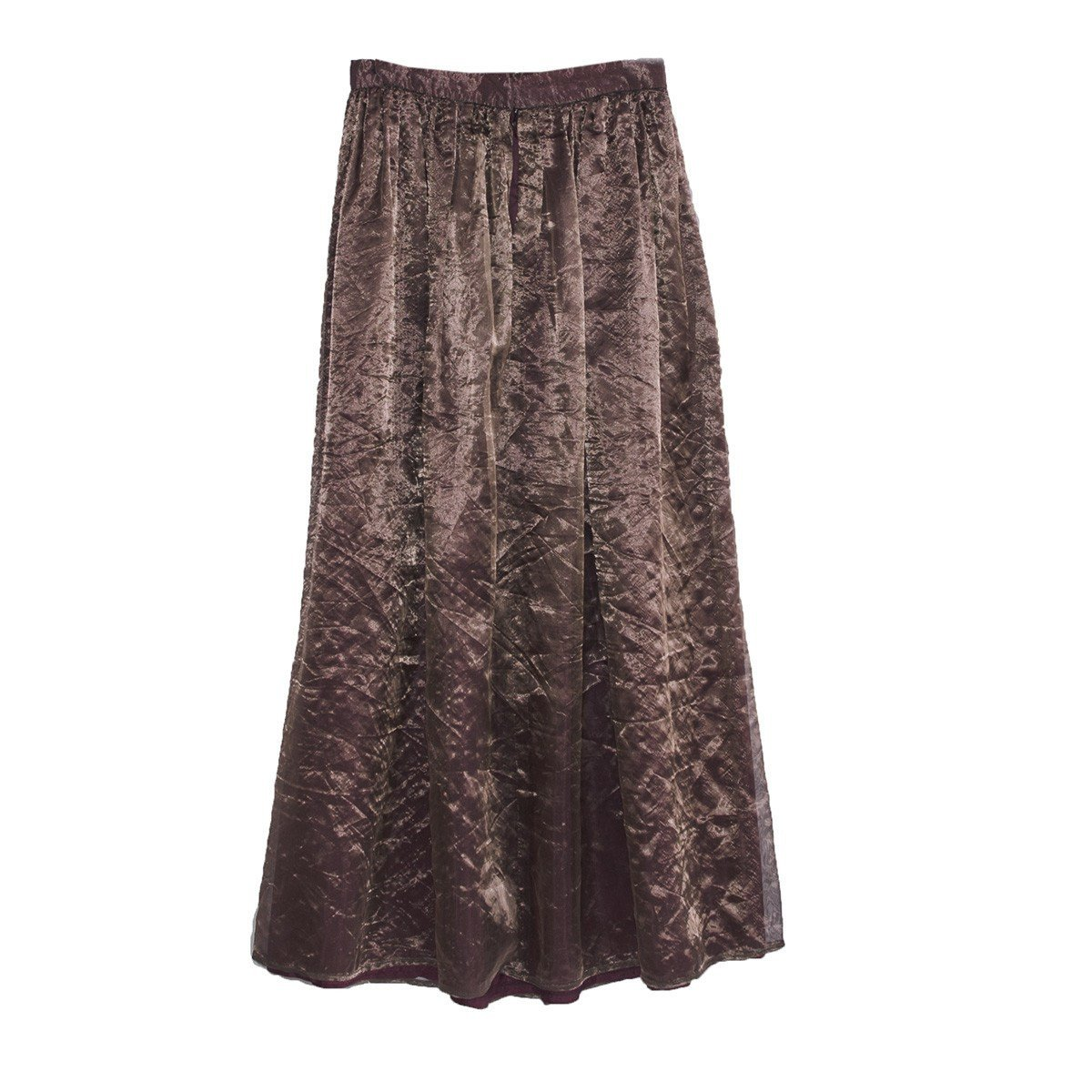1980s Copper Floor-Length Skirt, Silk & Metallic