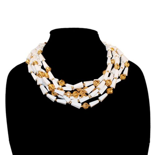 """1960s Multi-strand Necklace, 19"""" Gold Metal & White Thermoset Beads"""