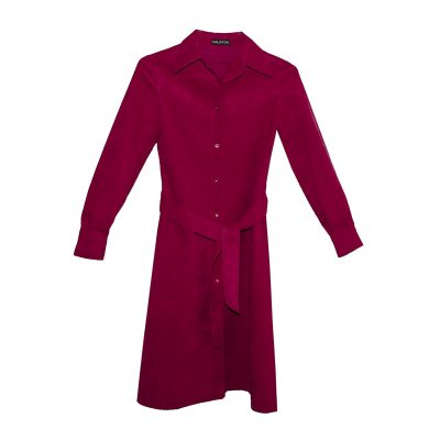 Halston Red Ultra Suede Trench Coat