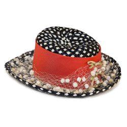 black white polka dot hat