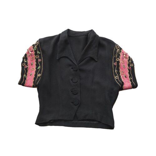 1940s Bolero Style Blouse with Rhinestones in Pink & Black Silk Crepe de Chine