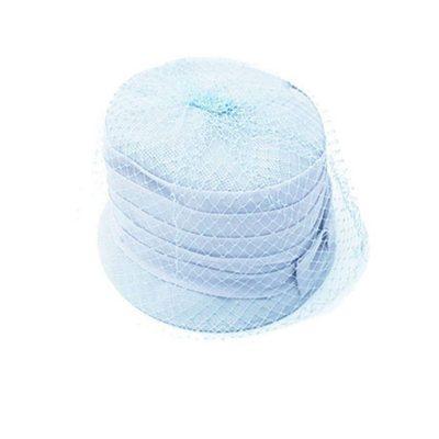 1960s Light Blue Silk Chiffon Flower Pot Hat, Hat Size 20