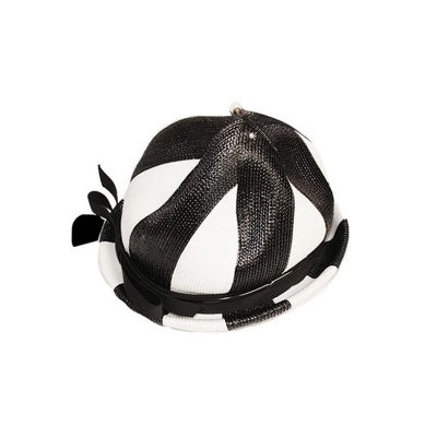 Lilly Dache Straw Breton Hat, Black & White Color Block