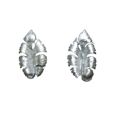 Mid Century Silver Metal Leaf Earrings by Lisner