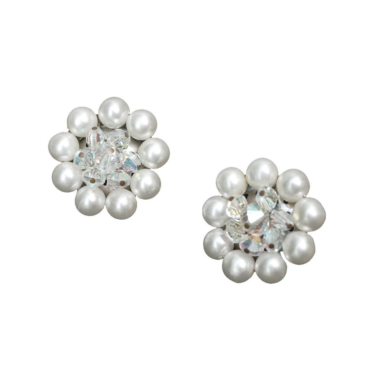 Mid Century Faux Pearl Earrings, Aurora Borealis Bead Centers