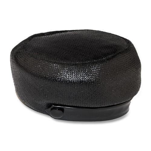 Leslie James Black straw hat