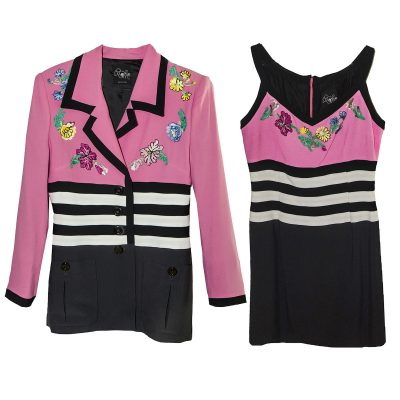 Oppio Pink & Black Suit