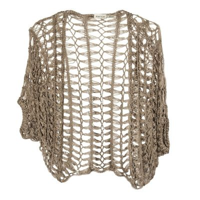 Taupe Brown Crochet Shrug, Bolero Jacket