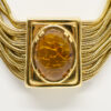 Faux amber necklace, gold snake chains