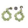 large green beaded clip earrings