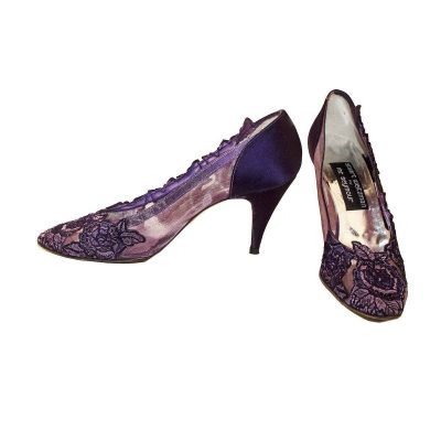 Stuart Weitzman Purple Lace Pumps, Pointed Toe, Size 9