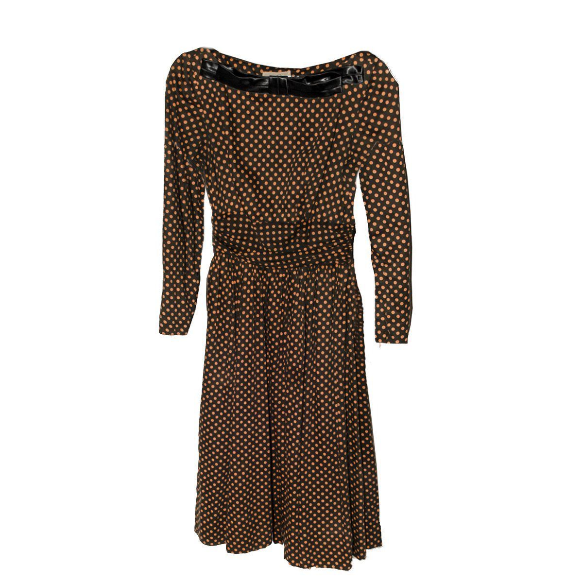 1950s Jean Lang Original Wool Jersey Dress, Orange & Brown Polka Dot,  Size Small