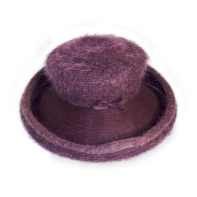 Gabriela Ligenza Purple Hat, Knit & Horsehair, Made in Italy by Marzi Brothers