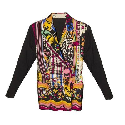 Multi-print Silk Jacket, Size Small