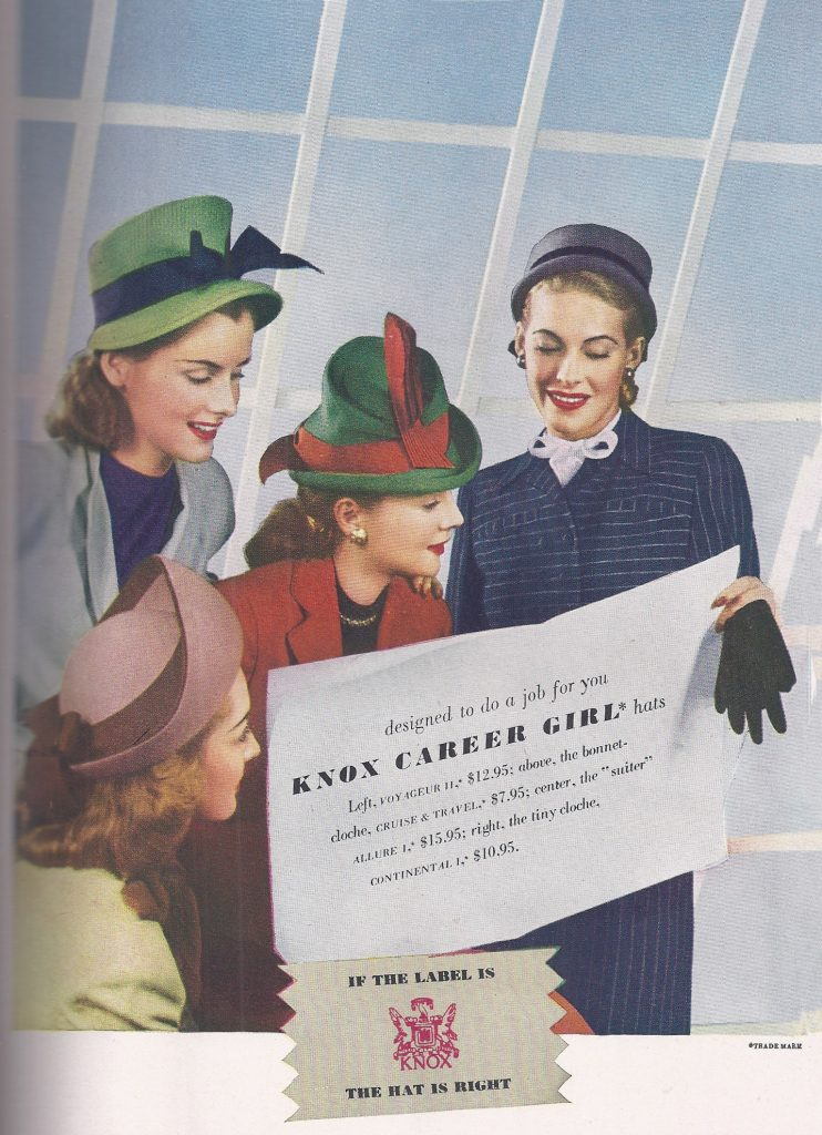Knox Hats 1945, Charm Magazine