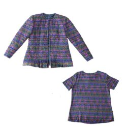 Quilted Silk Jacket and Blouse Set, Flame Stitch Print