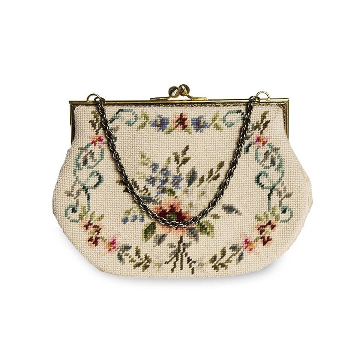 1960s Needlepoint Handbag, Floral Design