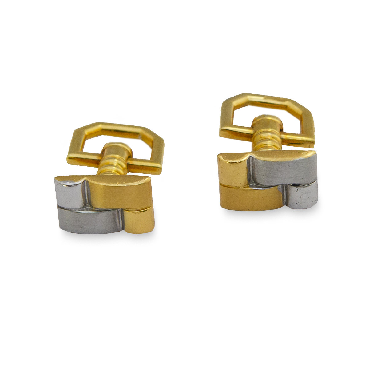 Brick Two Tone Gold – Silver Cufflinks