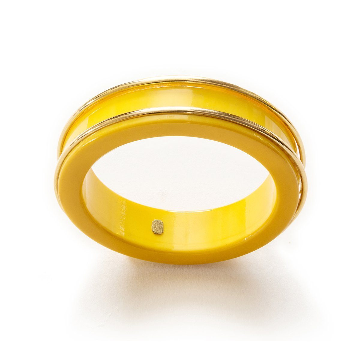 Vintage 1970s Dior Bangle Bracelet, Yellow & Gold Lucite