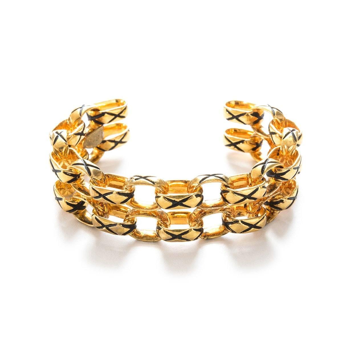 VIntage 80s Chanel Gold Plated Link Cuff Bracelet
