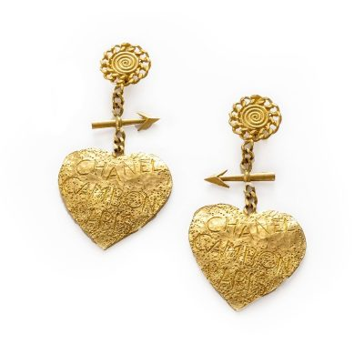 Vintage Chanel Cambon Paris Graffiti Heart Earrings