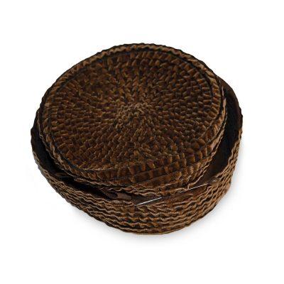Vintage Pillbox Hat by D Charles, Brown Crimped Velvet
