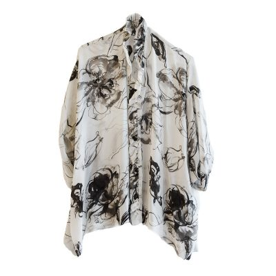 Eskandar Ruffled Silk Blouse, Gray & Brown Abstract Floral Print