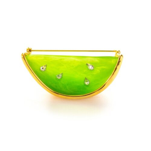 Vintage 1980s Givenchy Melon Slice Brooch, Lucite & Gold Plate