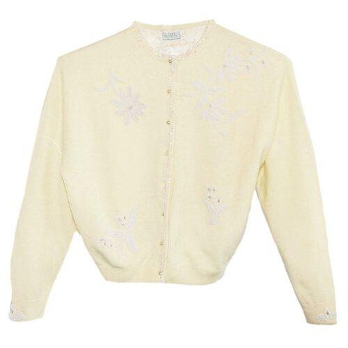 Vintage 1960s Beaded Angora Yellow Cardigan, White Flower Beading
