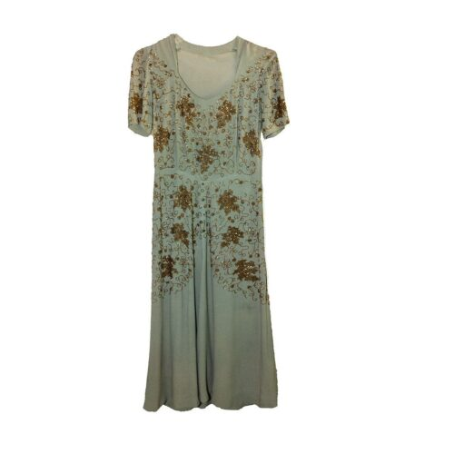 1930s Sage Green Silk Crepe Beaded Gown, Gold beading, Short Sleeves