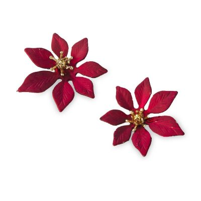 Vintage Metal Poinsettia Pierced Earrings