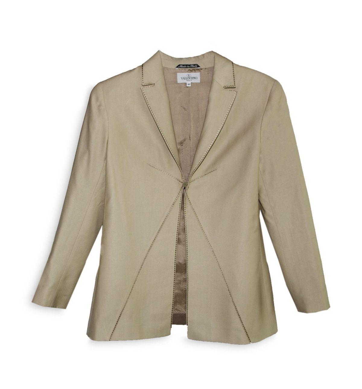Vintage Miss V Valentino Tan Blazer, Size 10, SIlk-Wool Blend