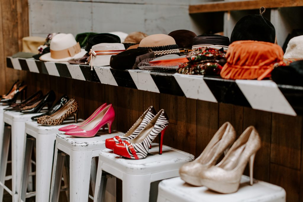 Hats and shoes for fashion shoot