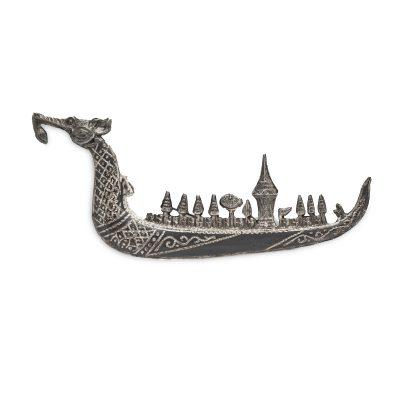 Siam SIlver Dragon Boat Brooch