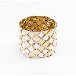 70s Wide Gold Metal, Glass & Enamel Expandable Bracelet
